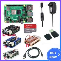 Оригинальный Raspberry Pi 4 Модель B комплект + алюминиевый корпус + теплоотвод + 3A переключатель питания + Micro HDMI вариант 64 32 Гб SD карта   ридер