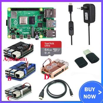 Kit d'origine Raspberry Pi 4 modèle B + boîtier en aluminium + dissipateur thermique + interrupteur 3A + Option Micro carte SD 64 ou 32 go