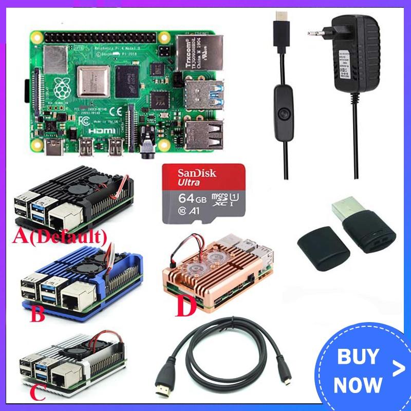 Оригинальный Raspberry Pi 4 Model B Kit + алюминиевый чехол + теплоотвод + 3 А переключатель питания + Micro HDMI опция 64 32 Гб SD карта | Ридер