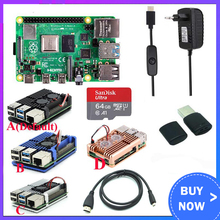 Original Raspberry Pi 4 Model B Kit + Aluminum Case + Heat Sink + 3A Switch Power + Micro HDMI Option 64 32GB SD Card |Reader raspberry pi 3 model b nespi case plus 2 wireless gamepad 32gb sd card 3a power adapter fan heat sink for retropie