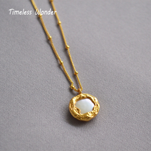 Timeless Wonder New Brass Geo Baroque Pearl Choker Necklace Jewelry Punk Gothic Top Gold Chain Pendant Ins Personalized 2842