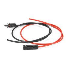 זוג אחד 11AWG פנל סולארי חיבור הארכת כבלי שמש עם זכר ונקבה מחבר שחור בתוספת אדום