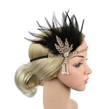 Acessórios para o cabelo preto strass frisado lantejoulas faixa de cabelo 1920s vintage gatsby festa headpiece flapper pena bandana # t5p