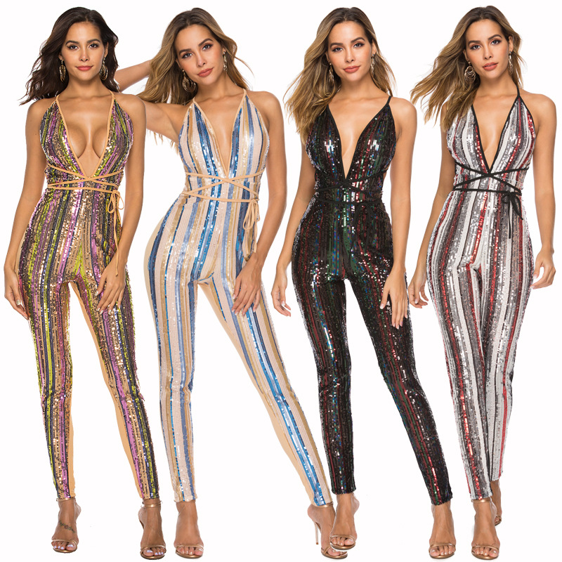 Backless Sexy Sequin Jumpsuit Women Halter Sleeveless Lace Up Rainbow Rompers Women Long Jumpsuit Sequined Club Party Overalls