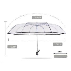 Image 4 - 透明全自動傘メンズレディース屋外折りたたみ高級クリア雨傘黒ピンクビッグ大女の子自動パラソル