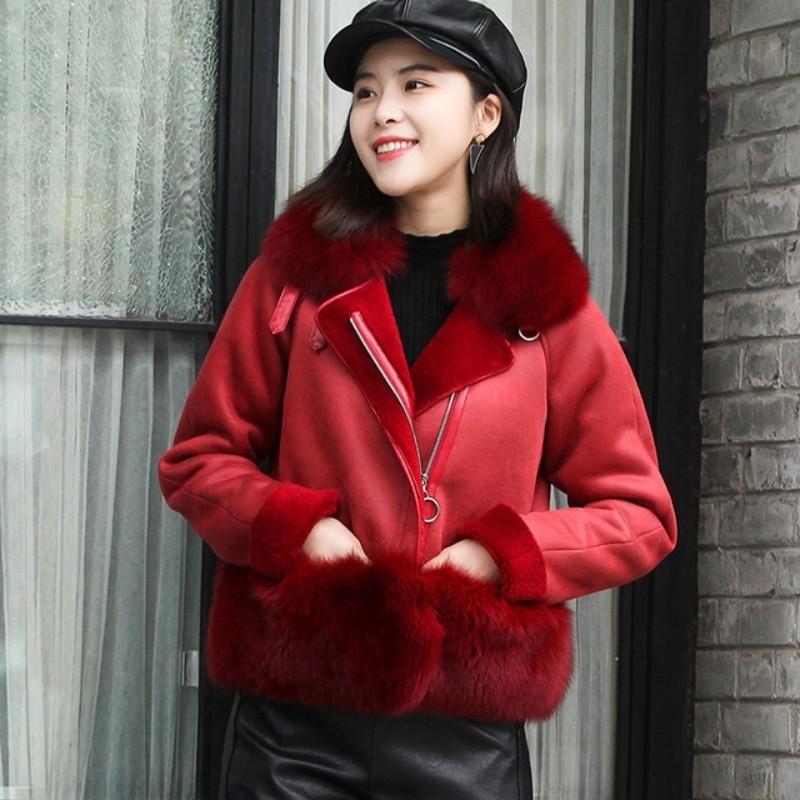 Women's Winter Sheepskin Coat Real Sheepskin Coat Fox Skin Collar Fashion Natural Warm Sheepskin Leather Beautiful Sheepskin