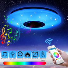 Nordic LED RGB Ceiling Light for Living Room Music Ceiling Lamp With Bluetooth Speaker Dimmable Home Decoration Bedroom Light