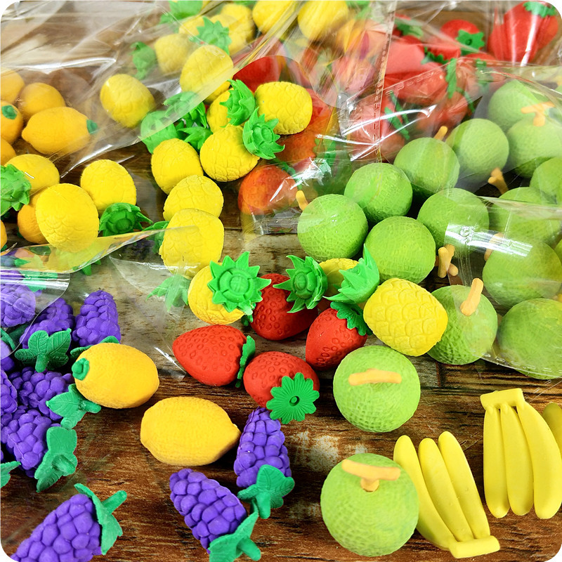 Creative Vegetables and Fruit Eraser Set Kids Best School Prize Fruit Eraser Banana Carrot Rubber Eraser 30pcs/set