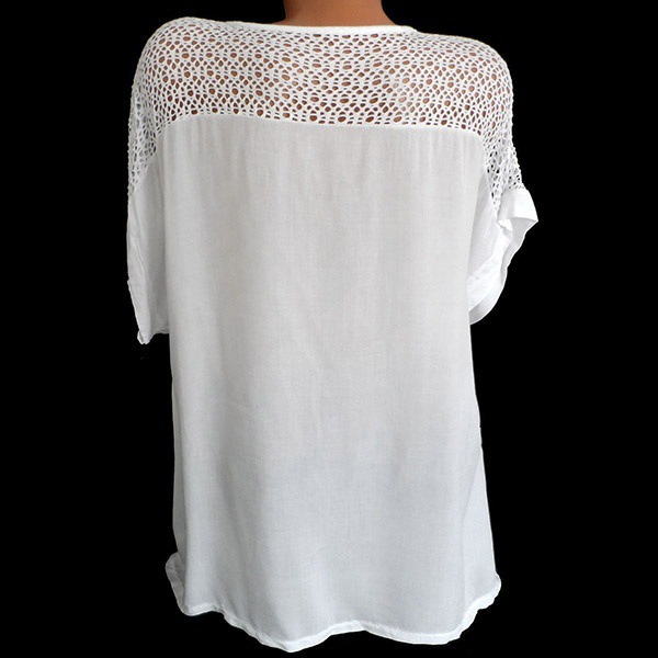 2020 Summer New Women Short Sleeve Solid Color Shirt Fashion Openwork Lace Crochet Shirt Street Casual 5 Color Shirt Size S-5XL 10