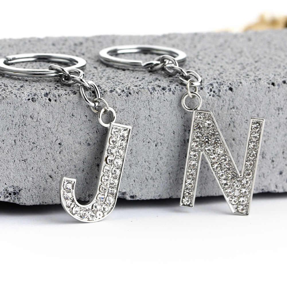 26 letras de moda nuevo llavero alfabeto de diamantes de imitación de cristal letra inicial llavero Unisex llavero envío gratis