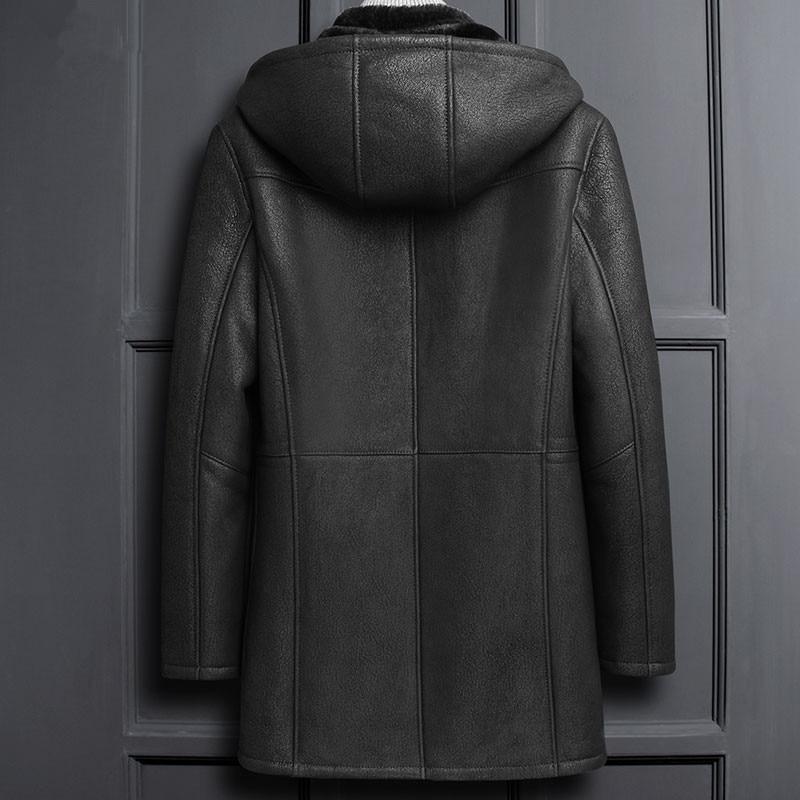 Winter Genuine Leather Jacket Men Sheepskin Coat Real Fur Vintage Shearling Jacket Hooded Thick Coats LSY1100 KJ3823