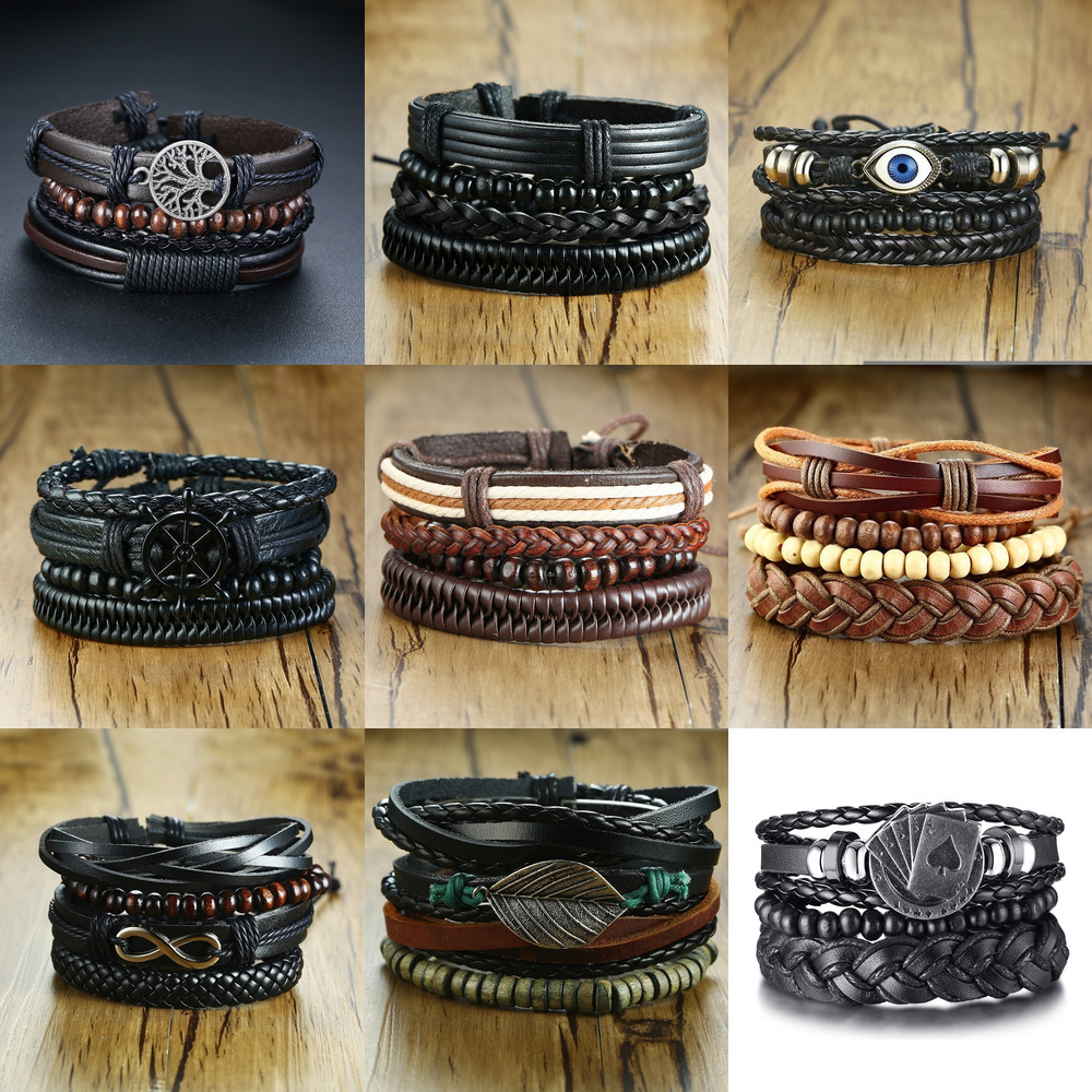 Vnox 4Pcs/ Set Braided Wrap Leather Bracelets for Men Vintage Life Tree Rudder Charm Wood Beads Ethnic Tribal Wristbands 3