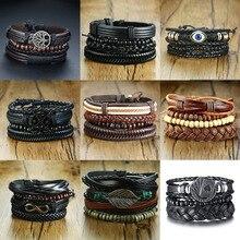 Vnox 4Pcs/ Set Braided Wrap Leather Bracelets for Men Vintage Life Tree Rudder Charm Wood Beads Ethnic Tribal Wristbands
