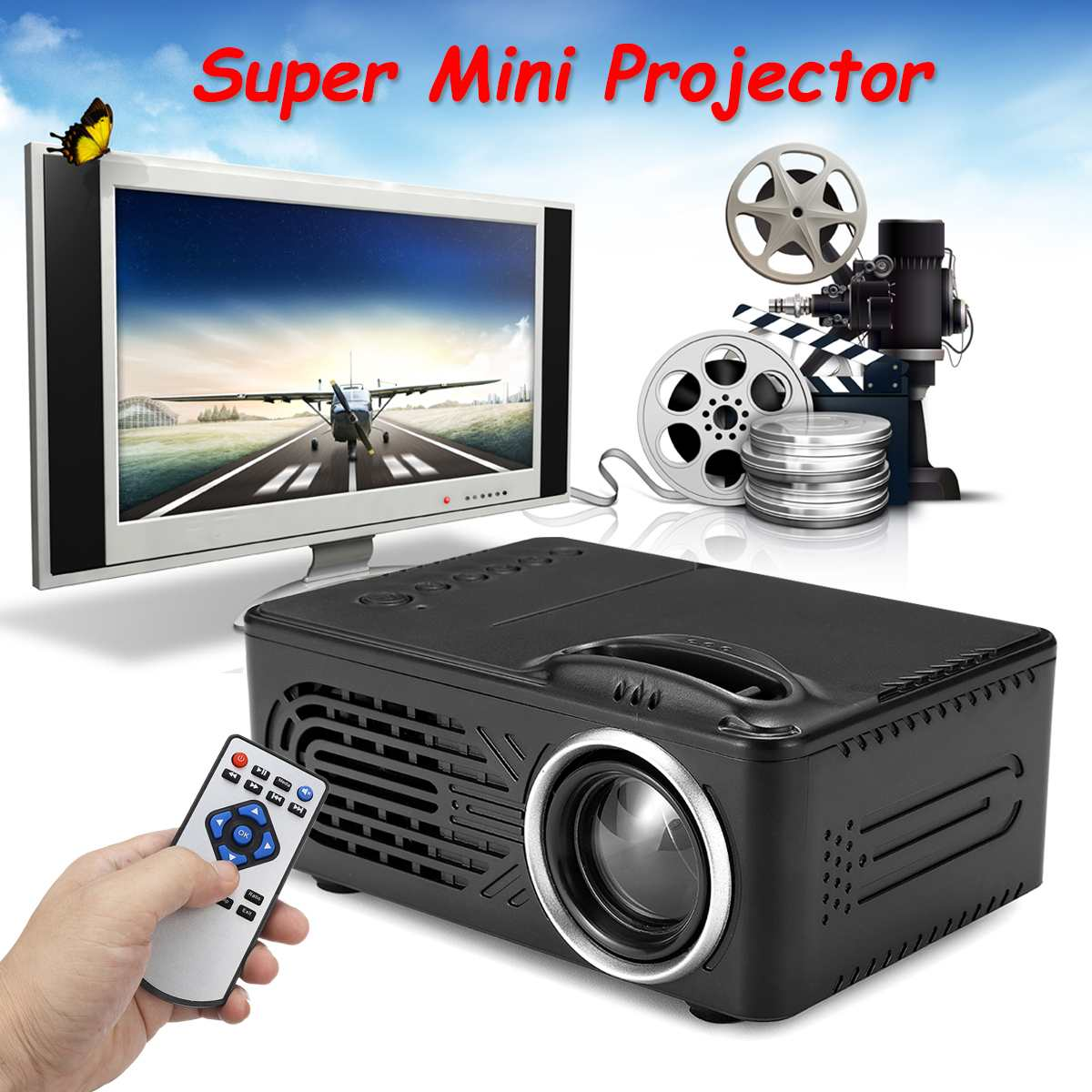 Projector Media-Player Cinema Eu-Plug RD-814 Portable 220V 1080P TV 3D HDMI USB Theater title=