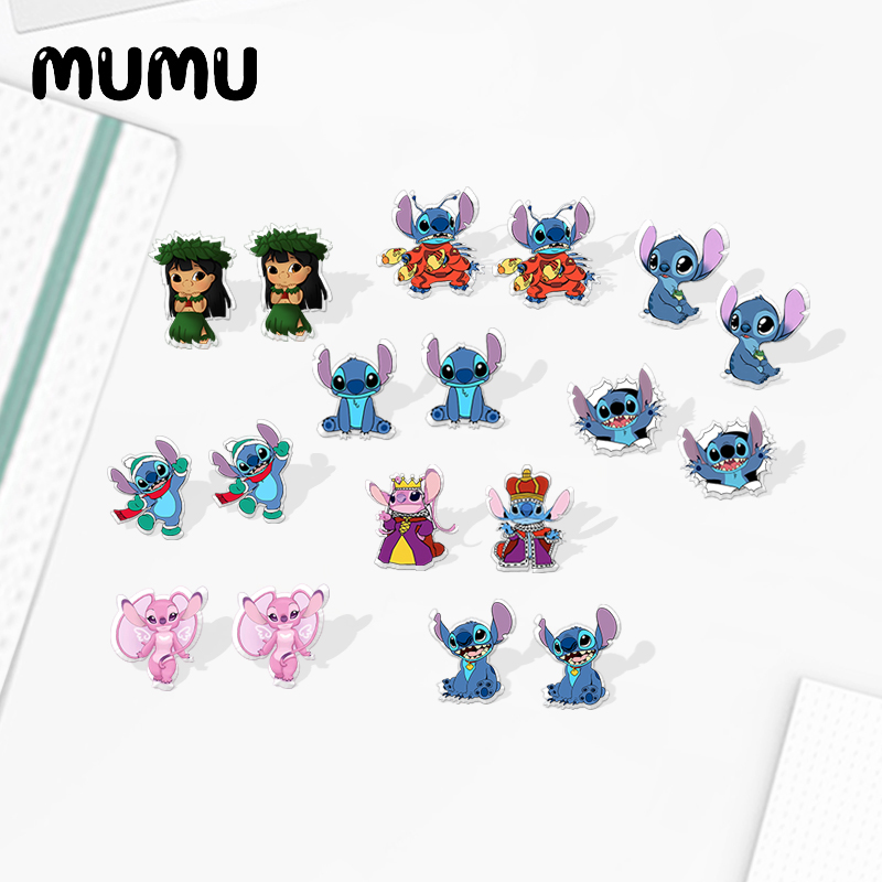 2020 New Stitch And Angel Stud Earring Cartoon Acrylic Earring Silver-color Handmade Earrings Epoxy Jewelry Gifts Children