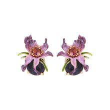 European and American new fashion exaggerated skull series enamel glaze purple flower ear hook ear clip ladies wild earrings