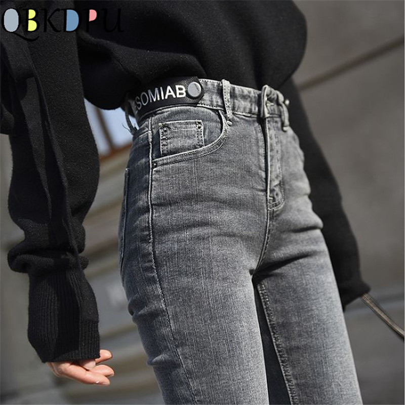 High Waist Ripped Skinny Pencil Jeans Women Plus Size Gray Mom Stretch Jeans Ladies Denim Pants Fashion Letter Decoration Mujer