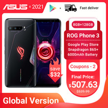 Versão global asus rog telefone 3 5g gaming telefone snapdragon 865 plus 8ram 128rom 6000mah 144hz 2sim cartão nfc rog3 smartphone