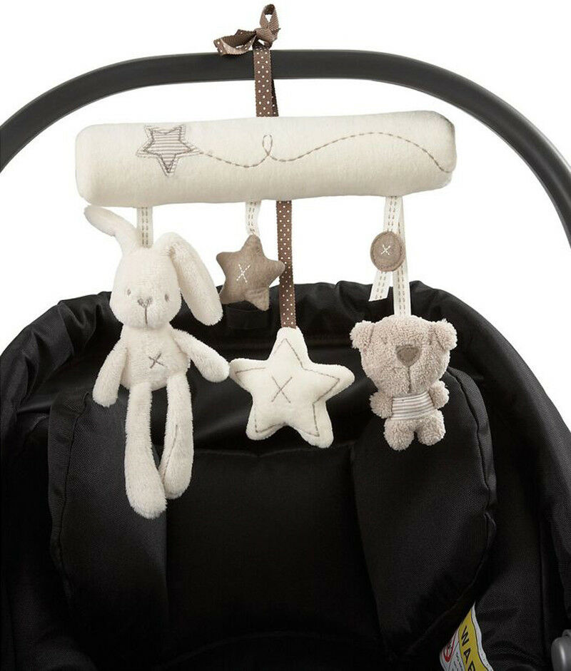 Baby Stroller Rattles Toy Cute Newborn Gift Cot Hanging Baby Rattle Toy Kids Soft Plush Rabbit Musical Toy