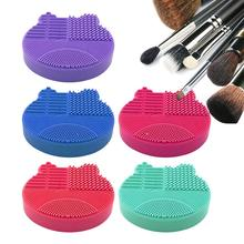 Makeup Brush Cleaner Makeup Brush Cleaning Pad Cosmetic Brush Holder Cleaning Mat Portable Washing Tool Scrubber Box silicone makeup brush cleaning mat washing tools hand tool large pad sucker scrubber board washing cosmetic brush cleaner tool