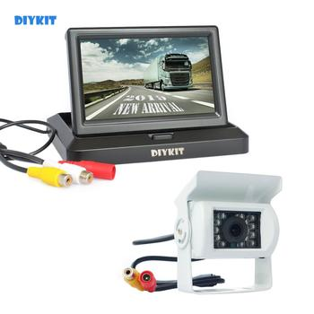 DIYKIT 5inch Foldable Car Monitor Waterproof IR Night Vision CCD Rear View Car Camera for Truck Caravan Bus Van White