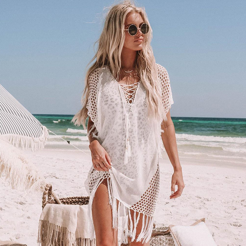 New Knitted Beach Cover Up Women Bikini Swimsuit Cover Up Hollow Out Beach Dress Tassel Tunics Bathing Suits Cover-Ups Beachwear 44