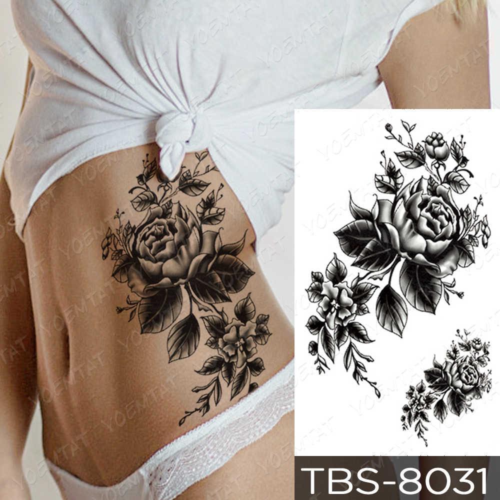 Waterdichte Tijdelijke Tattoo Sticker Bloem Pioen Roos Schetsen Flash Tattoos Zwarte Henna Body Art Arm Nep Tatoo Vrouwen Mannen