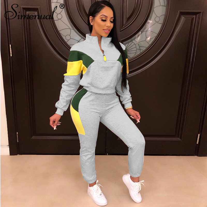 Simenual Sporty Casual Patchwork Two Piece Set Long Sleeve Active Wear Women Traksuits Fashion Autumn Workout Top And Pants Sets