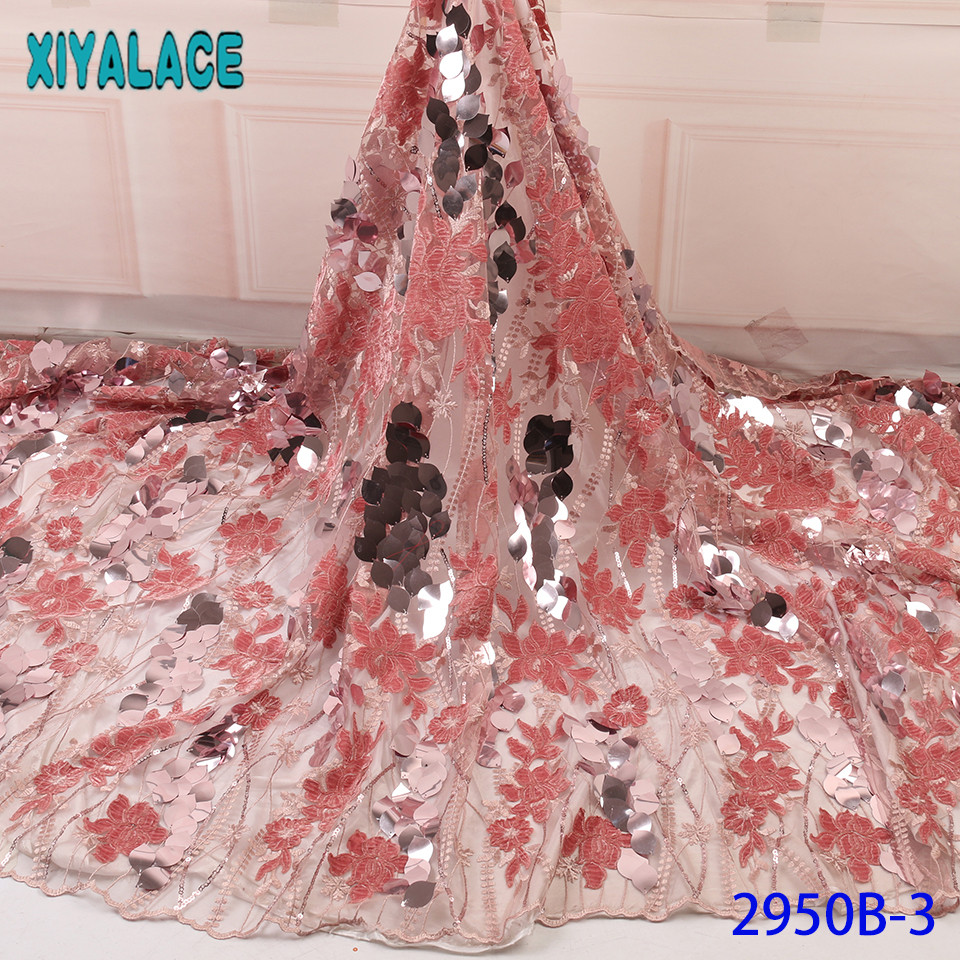 French Net Lace Fabric 2019 High Quality Lace,New Velvet Lace Fabric, Korean Lace Fabric with Sequins KS2950B-3