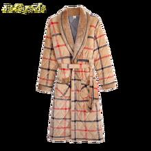Men Robe Winter Warm Bathrobe 3 Layer Padded Long Sleeve Plaid Velvet Kimono Mens Night Dress Gown Luxury Men Robe Winter Kimono