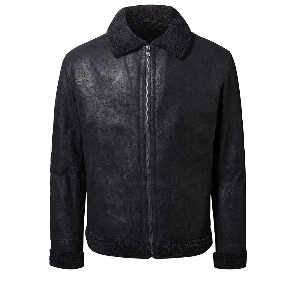 Hd0b59000839b479782f43573c8cebc0cW New Men's Real Leather Jacket Faux Fur Collar Genuine Leather Jacket