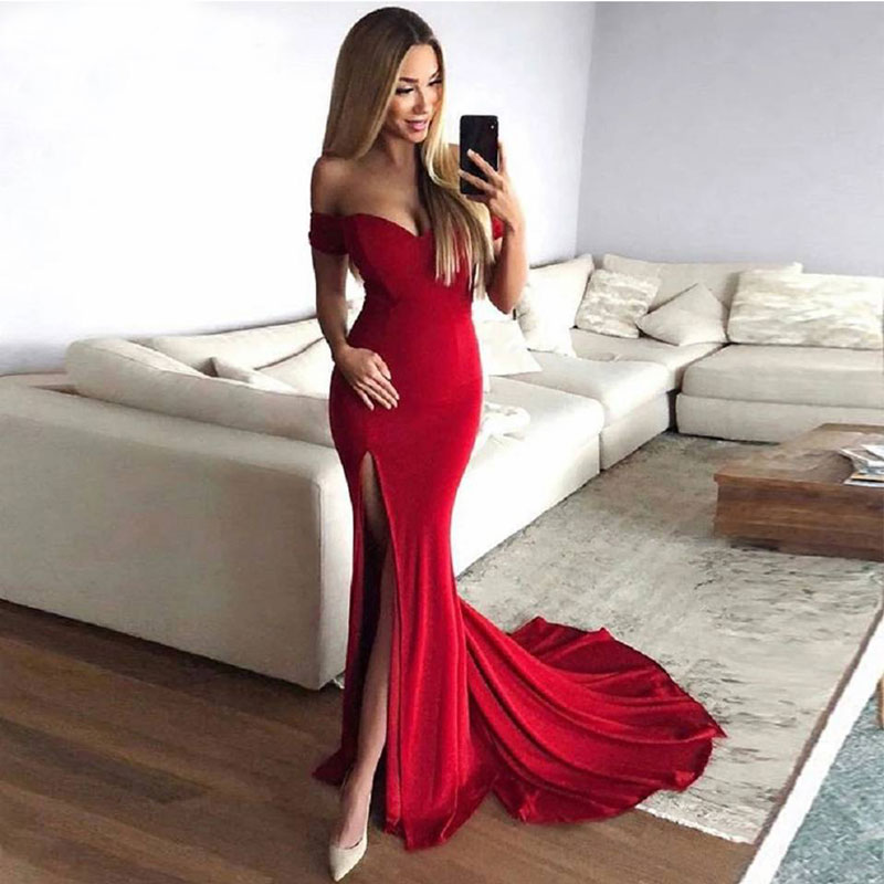 Mermaid Side Slit Red Velvet Prom Party Evening Dresses Vestido De Noiva Sereia Gown Robe De Soiree Prom Party Sweep Train