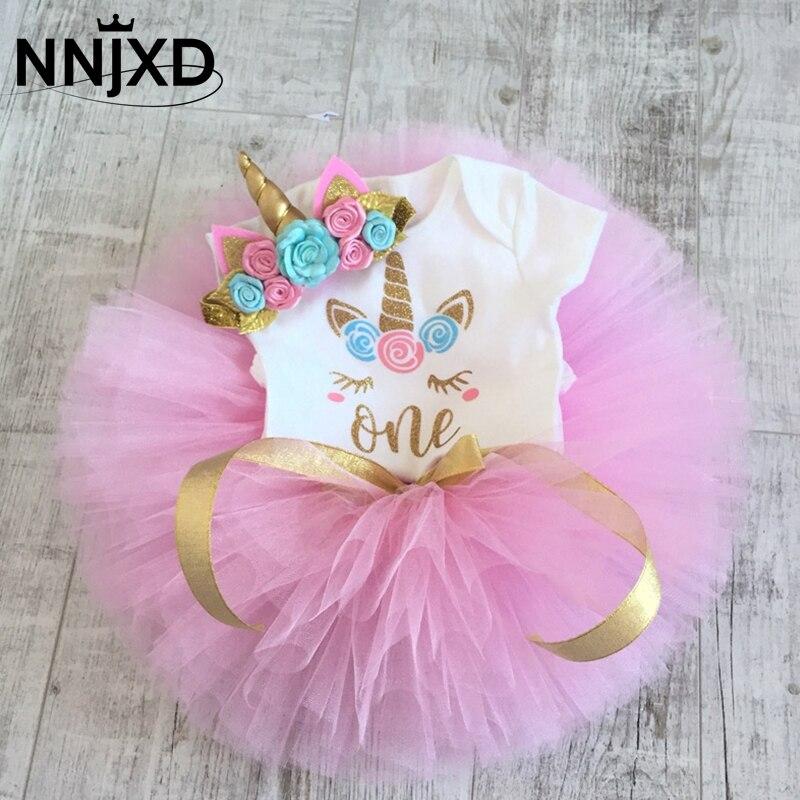 Единорог Платье с принтом комплект одежды для мальчиков и девочек 1 год, день рождения, вечерние платья, костюм для девочек с бантом, узор в г...