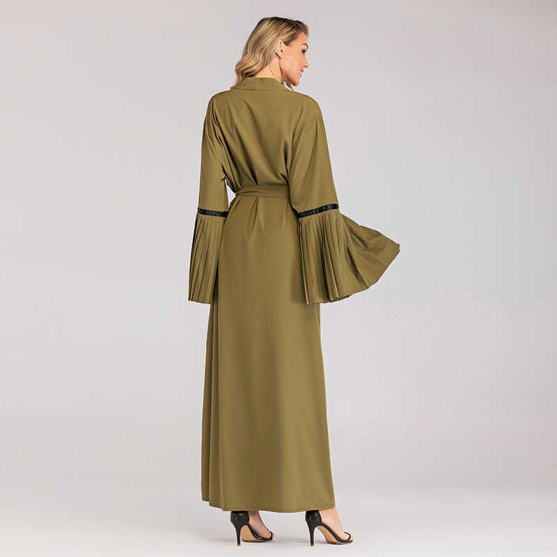 העבאיה קימונו מוסלמי קרדיגן חיג 'אב שמלת קפטן דובאי קפטן תורכי בגדי האיסלאם Abayas נשים Vetement Femme Musulmane