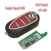 Llave remota de coche Datong World para Alfa Romeo 147 159 Mito 2008 + Delphi Giulietta Genuine Marelli PCF7946AT 433ASK, llave abatible de repuesto