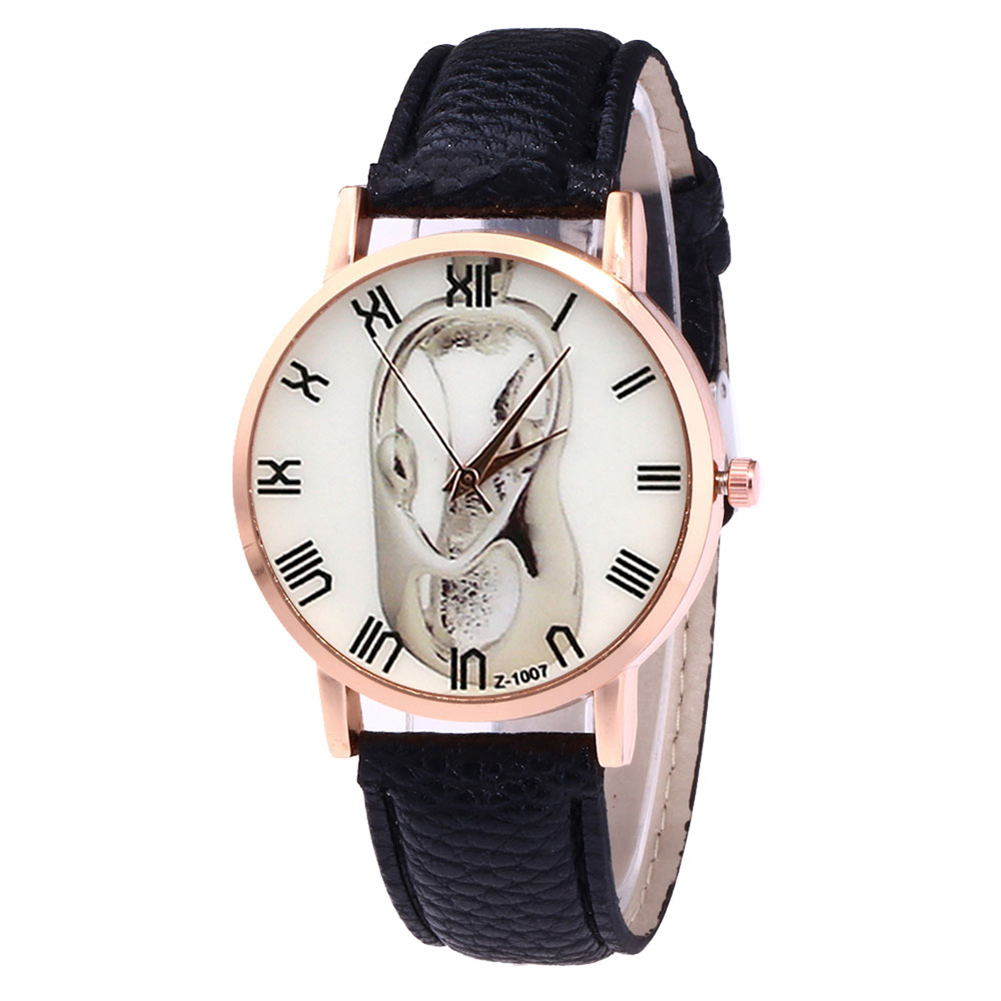 Quartz Watches Round Dial Faux Leather Strap Fashion Watches For Men Boys Women Travel Accessories  LL@17