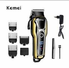 100 240 v kemei recarregável aparador de cabelo profissional tosquiadeira de cabelo corte de cabelo barba máquina de barbear de cabelo elétrico