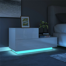 Multifunction RGB LED Nightstands Cabinet Storage Bedside Table Night Table Bedroom Nightstand Home Furniture for Night Lighting