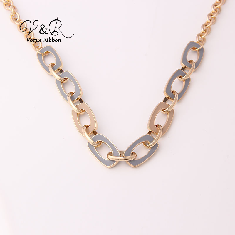 Two Tone Enamel  Penent Multiple Sized Link Chain N Necklace (8)