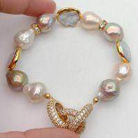 Cultured Keshi Pearl White Coin Pearl Stretch Bracelet