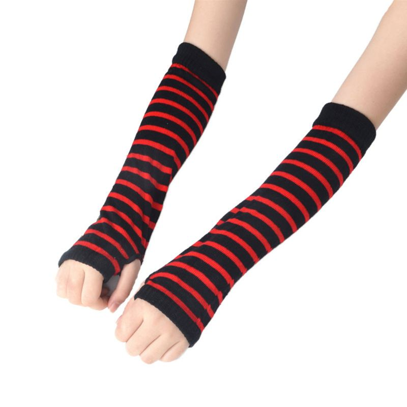 Women Girls Winter Warmer Knitted Gloves Stripes Printed Length Stretchy Arm Sleeves Unique Fingerless Long Winter Gloves