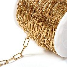 1 mètre chaîne en acier inoxydable 7mm couleur or grand Rolo câble chaînes en vrac pour collier Bracelet fabrication de bijoux accessoires de bricolage