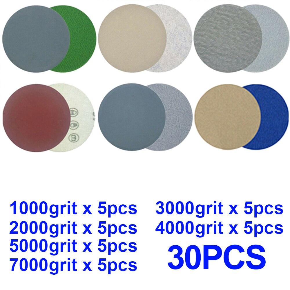 30Pcs 3 Inch 75mm Round Wet & Dry Sandpaper Disk Sand Sheets Grit 1000-7000 Hook And Loop Sanding Grinder Disc Polish