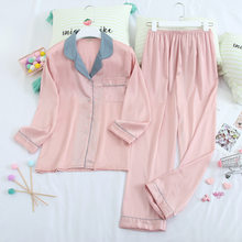 Daeyard manga longa pijamas mulheres primavera outono gelo seda camisas calças terno impressão pijamas moda conjunto