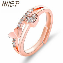 HNSP Fashion Rose Gold Double Heart Rings for women Adjustable ring female Finger Engagement wedding  jewelry gift wholesale hollow heart rings for women female micro pave engagement wedding knuckle finger ring fashion jewelry z4p900
