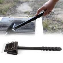 3 em 1 canto fio de cobre escova churrasqueira grill forno limpeza bbq escova fio cobre esponja pá alça longa