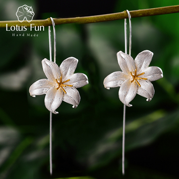 Lotus Fun 18K Gold Lily Flower Dangle Earrings Real 925 Sterling Silver Handmade Designer Fine Jewelry Earrings for Women Bijoux