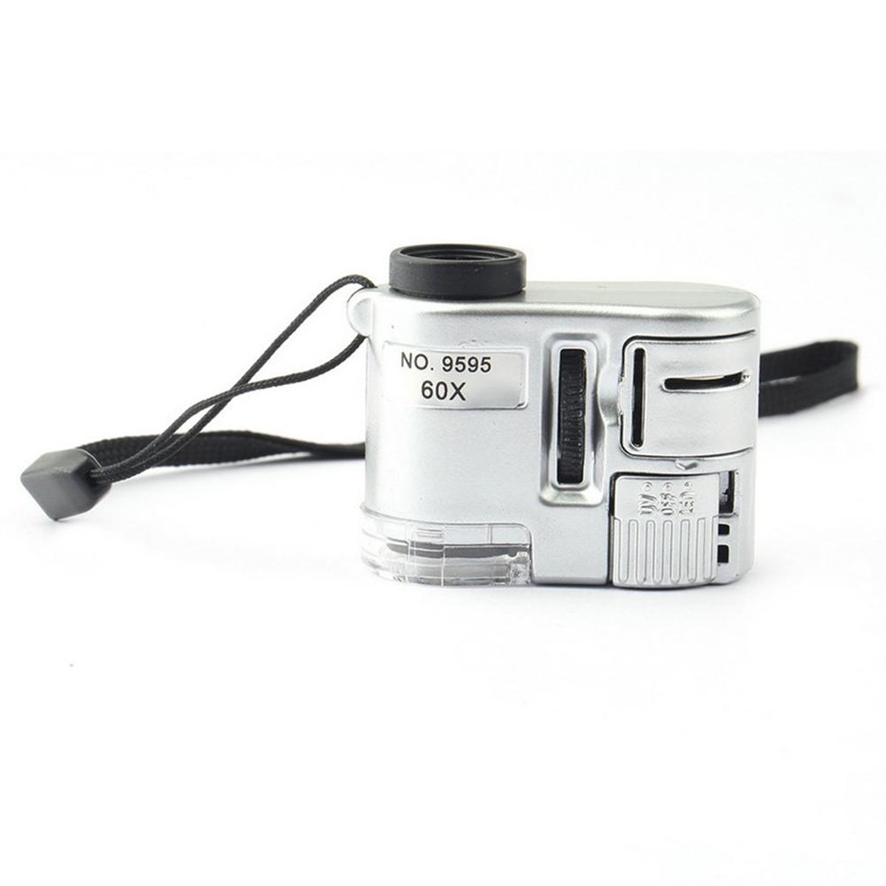 Mini Lens 60X Pocket Magnifier Microscope LED Ultraviolet Light Jewelry Education Focus Adjustable Loupe Glass Currency Detector
