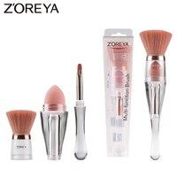 Zoreya Reise 3in1 Bilden Weichen Mehrzweck Tragbare Make-Up Pinsel Abgewinkelt Schwamm Stirn Lidschatten Pulver Pinsel Kosmetische