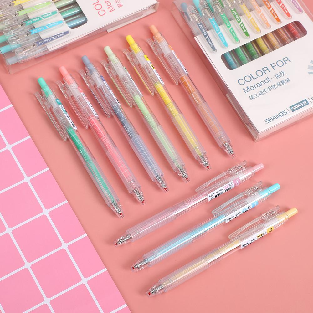 JIANWU 9pcs/set Morandi Color Gel Pen Set 0.5mm Colored Cute Gel Ink Pen Fine Point Neutral Pen Bullet Journal Supplies Kawaii